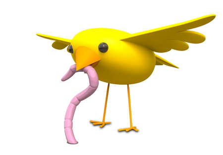 prompt: A literal depiction of the idiom of a yellow bird catching a pink earth worm