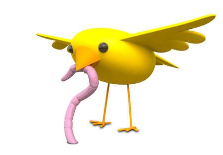 gusanos: Una representaci�n literal de la expresi�n de un p�jaro amarillo que coge un gusano de tierra de color rosa