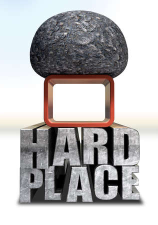 stack rock: A literal description of the saying a rock and a hard place with red frame sandwiched between a big black rock and a metal hard place