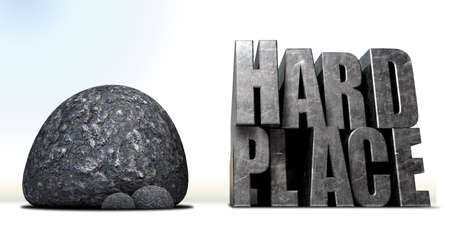 hard: A literal description of the saying a rock and a hard place with a big black rock and a metal hard place with a space between
