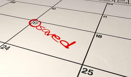 circled: Un calendario con un c�rculo con la fecha y la palabra salvo escrito en rotulador rojo