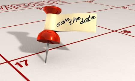 calendario: Un calendario con una chincheta roja adjunta con una etiqueta de la cinta y las palabras guardar la fecha escrita en marcador negro