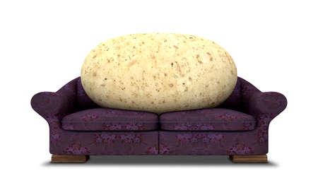 sedentario: Una representación literal de una papa sentado en un sofá de flores color púrpura Foto de archivo