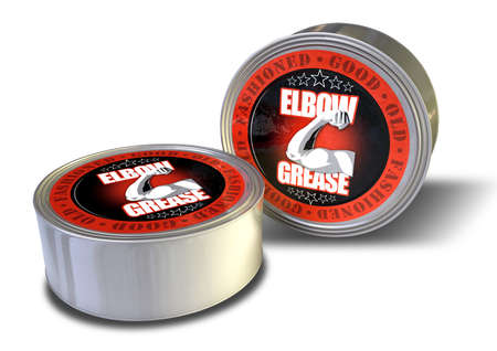 flexed: Two metal tins of a product labelled good old-fashioned elbow grease with a flexed arm illustration