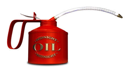 after midnight: A regular oil can with an embossed brass logo naming the product midnight oil on a white background  Stock Photo