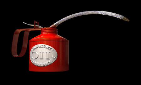 after midnight: A regular oil can with an embossed badge with a logo naming the product midnight oil