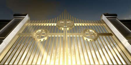 hereafter: The gold pearly gates of heaven seen from the bottom looking upwards