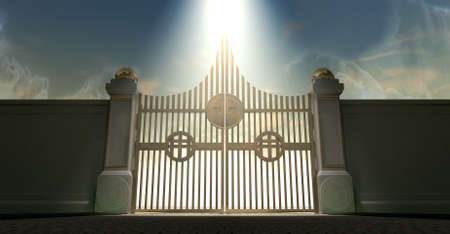 afterlife: The pearly gates of heaven with the bright side of heaven contrasting with the duller foreground and an ethereal spotlight Stock Photo