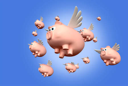A literal description of a herd of pink pigs with wings flying photo