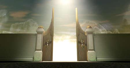 verjas: Las puertas de apertura en el cielo una luz et�rea
