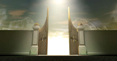pearly: The gates to heaven opening under an ethereal light Stock Photo