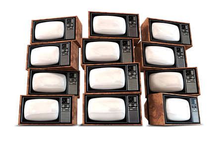 A wall of twelve old vintage tube televisions with mahogany trim and chrome dials and knobs photo