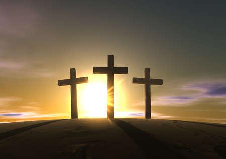 cruz de jesus: Una impresión de las tres cruces en el Gólgota, la montaña que representa el día de la crucifixión de cristos en el amanecer