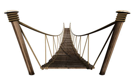 straddle: A rope bridge made of wooden planks held together by rope and secured by wooden pegs on an isolated background