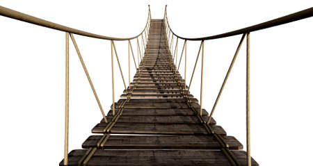 A rope bridge made of wooden planks held together by rope and secured by wooden pegs on an isolated background photo