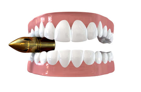 false teeth: A pair of false teeth set in pink gums biting a golden reflective bullet on an isolated background Stock Photo