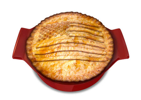 prototypical: A cooked puff pastry pot pie on a plate with the american flag carved out in pastry on the top in a red pot