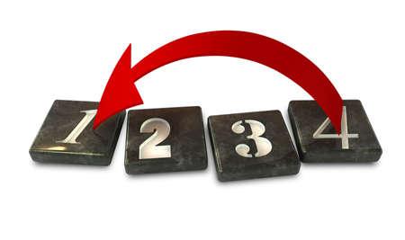 empezar: Cuatro números cuadrados de piedra con una flecha curva de color rojo que apunta desde el número cuatro de vuelta al número uno Foto de archivo
