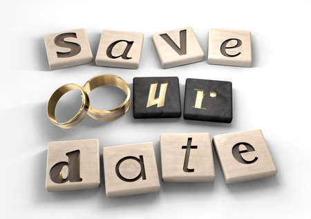 Square wood tiles engraved with various letters spelling out the term save our date with two gold wedding bands as the o  photo