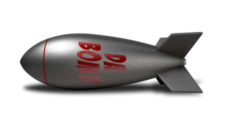 no war: An old style metal bomb with the word da bomb laying on its side on an isolated background Stock Photo
