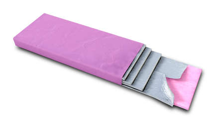gums: A non branded bubble gum with a pink wrapper and four foiled sticks of gum protruding out