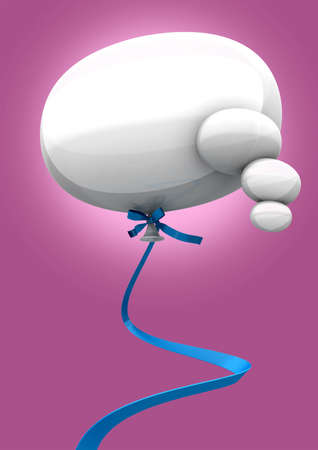 literal: A white reflective literal thought balloon on a blue ribbon on a pink background
