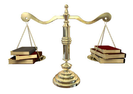 A gold justice scale with three books on either end balancing it out