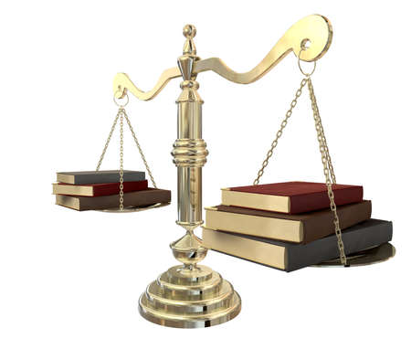 bookkeeping: A gold justice scale with three books on either end balancing it out