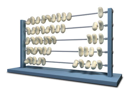 miserly: An abacus that has white beans instead of beads in five rows with ten in each