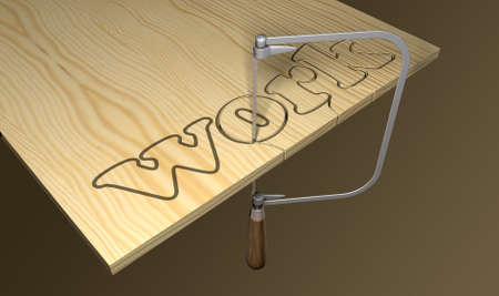 literal: A literal description of the word work thats being cut out out of wood with a coping saw Stock Photo