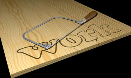 slog: A literal description of the word work thats being cut out out of wood with a coping saw Stock Photo