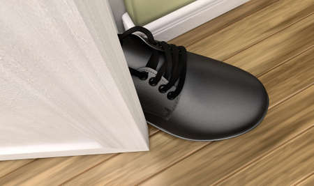 possibility: A literal depiction of the saying get a foot in the door