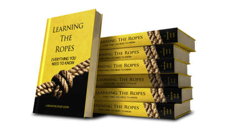 A stack of books of a study guide called learning the ropes with a yellow cover and a rope knot photograph on it Stock Photo - 14485514