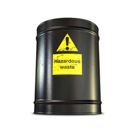 residuos toxicos: Un barril de metal negro con una etiqueta amarilla de desecho peligrosos en un aislado fondo Foto de archivo