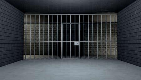 carcel: La vista desde el interior de una celda de la cárcel de ladrillo con barras de hierro y una puerta de hierro cerrada