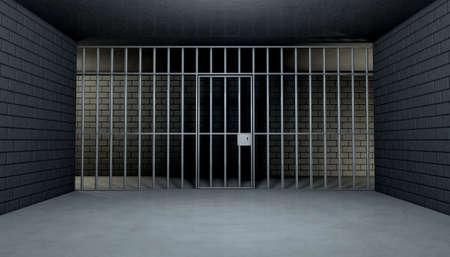cellule prison: Le point de vue de l'int�rieur d'une cellule de prison en briques avec des barres de fer et une porte de fer verrouill�