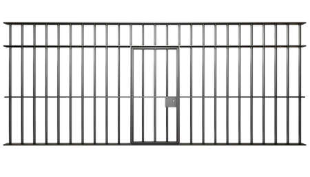 jail background: A front view of the bars of a jail cell with iron bars and a door on an isolated background