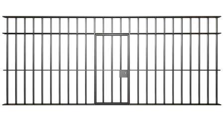 rejas de hierro: Una vista frontal de los barrotes de una celda de la cárcel con barras de hierro y una puerta en un fondo aislado