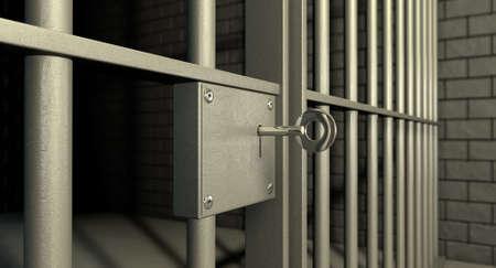 prision: Un primer plano de la cerradura de una celda de la c�rcel de ladrillo con barras de hierro y una llave en el mecanismo de bloqueo