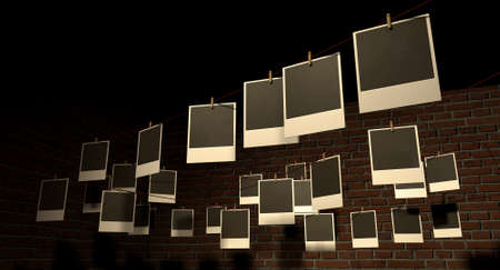 affix: A gallery of blank polaroids pegged onto multidirectional red strings infront of a facebrick wall Stock Photo