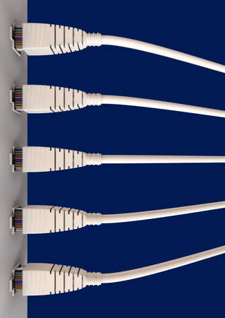 ethernet: A top view close-up of five ethernet plugs plgged into a ethernet port on a blue background