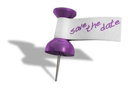 push pins: A purple thumbtack with a tape tag and the words save the date written in purple marker Stock Photo