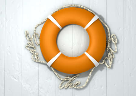 An orange lifebuoy with the rope around it spelling out the words save the date photo