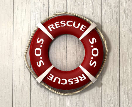 life preserver: An red lifebuoy with the rope around it and the words sos and rescue on a sunbleached wooden background