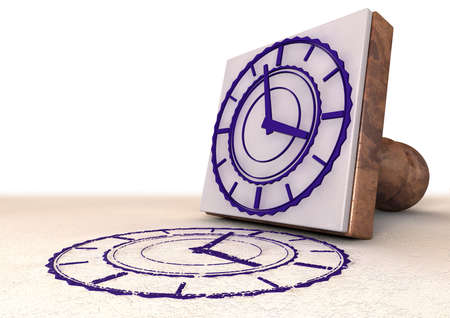 A rubber stamp with an extruded clock face and an imprint stamped in purple ink on an isolated background