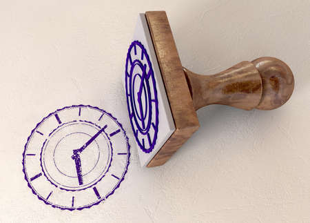 rubber stamp: A rubber stamp with an extruded clock face and an imprint stamped in purple ink on an isolated background Stock Photo