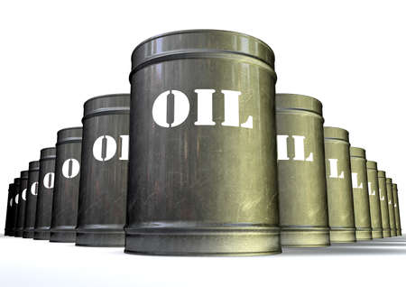 A group of lined up metal oil drums with the white label that says oil photo