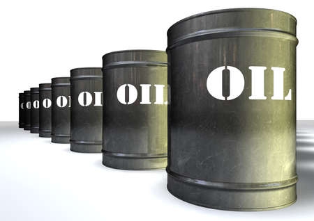 A group of lined up metal oil drums with the white label that says oil Stock Photo - 14789832