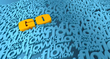 concur: An orange word go flowing in a sea made up of the word flow