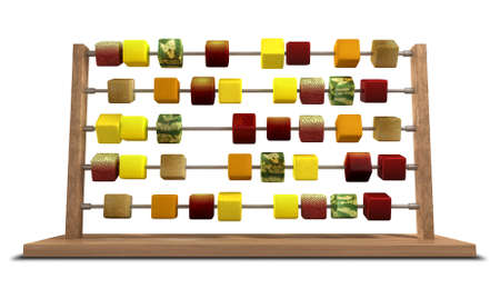 An abacus with stylized cubes of whole fruits as the counters photo